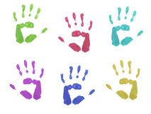Colourful Hand Prints. Colourful children's hand prints on white background royalty free illustration