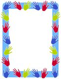 Colourful Hand Prints Frame Border. A simple border or frame illustration featuring colourful childlike handprints in red, green and dark blue on light blue Stock Images
