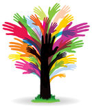 Colourful Hand Tree. An abstract tree image logo icon with hands as a trunk and leaves Royalty Free Stock Image