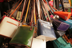 Colourful handbags for sale Royalty Free Stock Photography