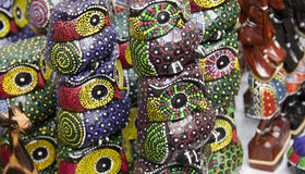 Colourful handicraft wooden owl. One of the famous souviners in Bali. It's handmade wooden owl. Can be seen everywhere at Ubud Art market royalty free stock photo