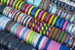 Colorful handmade bracelets Royalty Free Stock Photography