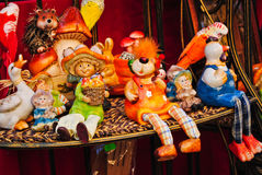 Colourful handmade ceramic toys. Verry colourful handmade ceramic toys an a shelf Royalty Free Stock Image