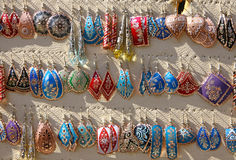 Colourful handmade earrings. Colourful handmade asian-style earrings on a market stall in Istanbul, Turkey Stock Photo