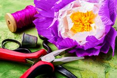 Colourful handmade paper flowers. Making gift for Mother`s Day stock photography
