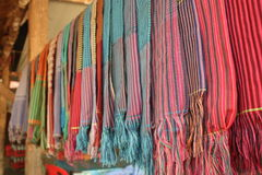 Colourful handmade scarfs in Cambodia Stock Images