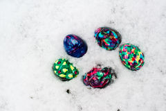 Easter Eggs in Snow Stock Photography
