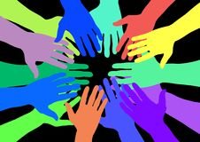 Colourful hands. Lots of colourful hands over a black background Royalty Free Stock Images