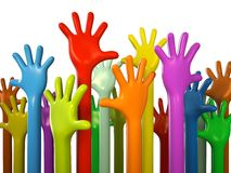 Colourful hands. Isolated on white background 3D rendering Stock Illustration
