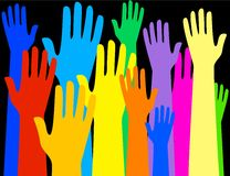 Colourful hands Royalty Free Stock Photos