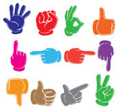 Colourful hands. Illustration of the colourful hands on a white background Royalty Free Stock Photos