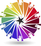 Colourful hands logo. Illustration art of a colourful hands logo with  background Stock Photos
