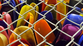 Colourful hanger in iron net storage Stock Images