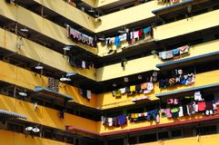 Colourful hanging laundry stock images