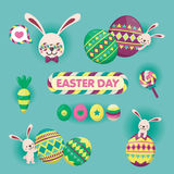 Colourful Happy Easter greeting card with rabbit, easter egg and cute stuffs.vector illustration. Colourful Happy Easter greeting card with rabbit, easter egg Stock Image