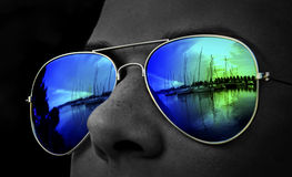 Colourful harbour look in sunglasses Royalty Free Stock Photography