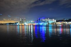Colourful Harbourfront by night Stock Photography