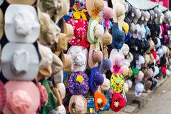 Colourful hats and headwear Stock Images