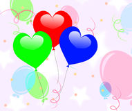 Colourful Heart Balloons Mean Romantic Party Or Stock Photography