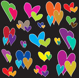 Colourful Hearts Cute Card Royalty Free Stock Photography