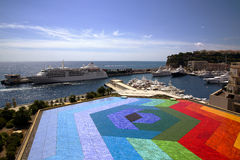 Colourful helipad in Monaco port Stock Image