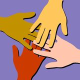 Colourful Helping Hands Teamwork Royalty Free Stock Image