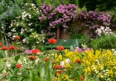 Colourful herbaceous border at Eastcote House Gardens walled garden, London UK.