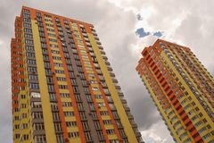 Colourful high residential buildings stock image