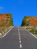 The colourful hill deeply cut by the road. Madeira Royalty Free Stock Image