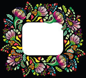 Colourful hollyday flower card. Colourful flower frame on black background stock illustration
