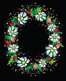 Colourful hollyday flower frame. Colourful flower frame on a black background stock illustration
