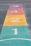 A colourful hopscotch game Stock Photos