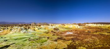 Hot springs in Dallol, Danakil Desert, Ethiopia. Colourful Hot springs inside the volcano Dallol in Danakil desert, Ethiopia. Dallol currently holds the official Royalty Free Stock Photography