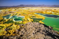 Hot springs in Dallol, Danakil Desert, Ethiopia Royalty Free Stock Photos