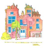 Colourful House. Illustration of a brightly coloured house on a street with a tree casting a shadow on it Royalty Free Stock Photography