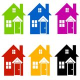 Colourful House Silhouettes Clip Art Royalty Free Stock Photography