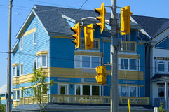 Colourful House & Street Lights Royalty Free Stock Photography