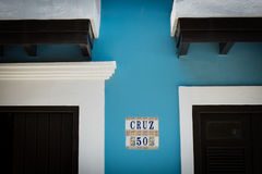 Colourful house and wall details in Old San Juan Puerto Rico. SAN JUAN, PUERTO RICO - April 2017: colourful old house and wall details in downtown in San Juan royalty free stock images