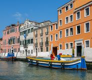 Colourful houses along the Canale di Cannaregio in Venice, Veneto, Italy. Colourful houses along the Canale di Cannaregio in Venice, Veneto, Italy royalty free stock photo
