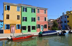 Colourful Houses and Boats of the Island of Burano  Venice Italy. Royalty Free Stock Photos