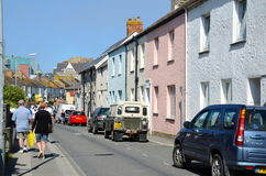 Colourful houses on Fore Street, Newquay. Newquay, UK - 6th September 2012: Colourful houses on Fore Street in Newquay, Cornwall.  Newquay is situated on the Royalty Free Stock Photo