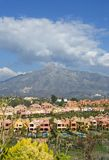 Colourful houses and homes at the foot of la concha mountain. In Marbella, Spain on the Costa del Sol stock images