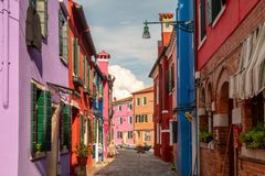 Colourful houses on the island of Burano stock image
