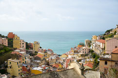 Colourful houses of Manarola, UNESCO World Heritage Site, suspended between sea and land on sheer cliffs, Cinque Terre, Italy Royalty Free Stock Photo
