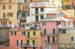 Colourful houses of Manarola, UNESCO World Heritage Site, suspended between sea and land on sheer cliffs, Cinque Terre, Italy Royalty Free Stock Image