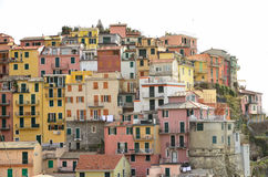 Colourful houses of Manarola, UNESCO World Heritage Site, suspended between sea and land on sheer cliffs, Cinque Terre, Italy Stock Photography