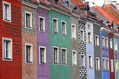 Colourful houses at Old Market Square in Poznan. Close-up colourful houses at Old Market Square in Poznan, Poland Stock Photos