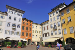Piazza Duomo, Trento. Colourful houses on the Piazza de Duomo in Trento, a city in Trentino-Alto Adige (Südtirol) in Italy stock image