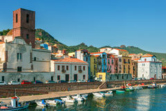 Colourful houses in a small sardinian town Bosa Stock Image