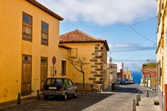 Colourful houses on street in Buenavista del Norte, Tenerife, Ca. Nary Islands, Spain Royalty Free Stock Photography